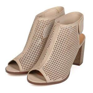 Beige Perforated Peep Toe Stacked Heel